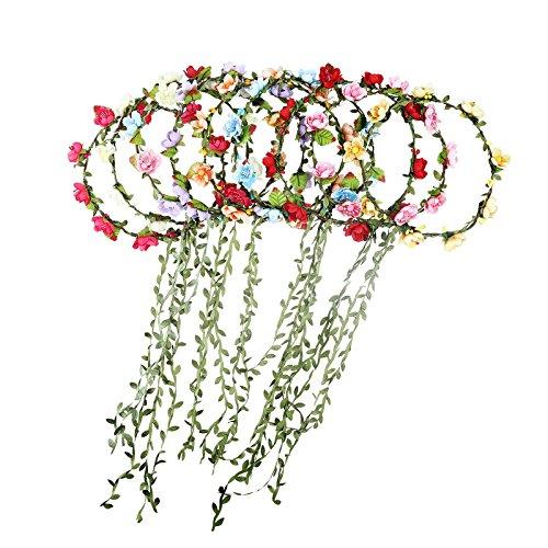 AWAYTR 9 Stück Blumen Stirnbänder Krone Girlande - Frauen Mädchen Mehrfarbig Blume Girlande für Festival Hochzeit Party(D-Mixed Farb 9Pcs) (Blumen-stirnband Crown)