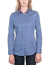 36a27f9cb4e66 HAWES   CURTIS Womens Blue   White Multi Stripe Semi Fitted Shirt - Single  Cuff
