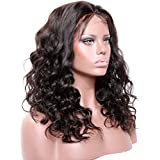 16\ 130% density lace front wig , #4 Medium Brown : Premier Body Wave Curly Glueless Lace Front Wigs- Loose curly Remy Brazilian Human Hair Wigs, Wet any Wavy Front Lace Wig Free Part for Black Women with Baby Hair (16inch #4 Medium Brown wig )