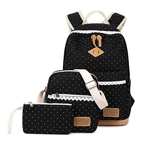 WKBY 3pcs/Set Student Backpack Womens Girls Kids Canvas Bags Dot Shoulder Bags Travel School bags Rucksack With Fancy Lace(Purple) Color 5