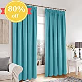 """Pencil Pleat Blackout Curtain Panels - PONY DANCE Super Soft Solid Window Treatments Drapes Room Darkening Curtains Privacy Protect for Bedroom & Living Room, 1 Pair, 46"""" Width x 90"""" Depth, Turquoise"""
