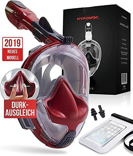 Hyponix Schnorchelmaske Vollmaske   Tauchermaske   Tauchmaske   Full Face Snorkel Mask mit sicherer Abfuhr von CO2, kompatibel mit GoPro Halter und Antibeschlag   Tragetasche, Ohrschutz u.v.m...