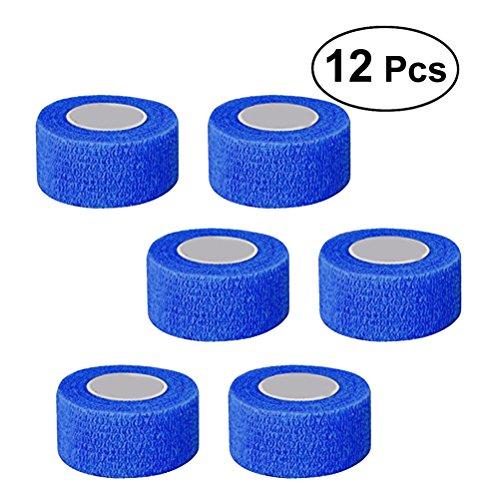 ROSENICE Verband 12 Rolle Cohesive Bandagen selbstklebende Band Stretch sportlich starke elastische Band(Blau) -