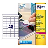 Avery España L6113-20 - Pack de 20 folios de etiquetas anti-manipulación, 45.7 x 21.2 mm, color blanco