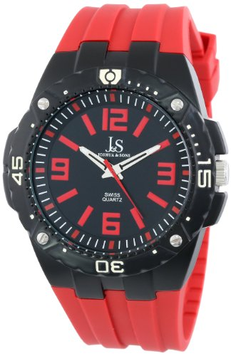 Joshua & Sons Men's JS-36-RD Bold Swiss Quartz Red Silicone Strap Watch