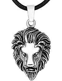 DonDon Collier homme en acier inoxydable avec pendentif lion en acier  inoxydable dans une pochette en 1782b1a02732