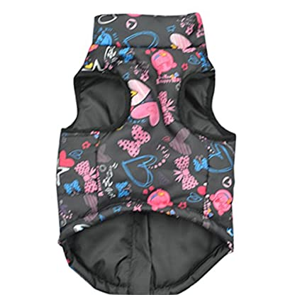 Doggie Style Store Black Heart Bow Dog Pet Puppy Puffer Warm Winter Padded Quilted Vest Coat Jacket Size XS 2