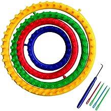 4 pz 4 Rotonda di Plastica di Dimensioni Knitting Loom Calzino sciarpa Cappello Knitting Loom Set con Maglia Crochet Hook Colore