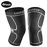 CAMBIVO 2 x Knee Support for Men Women, Compression Knee Brace Sleeves for Running, Arthritis, ACL, Meniscus Tear, Sports, Relieving Joint Discomfort and Muscle Fatigue