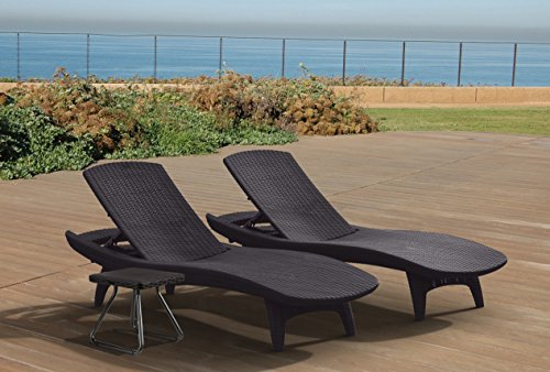 Keter Pacific Rattan Outdoor Adjustable Sunlounger and Table Garden Furniture Set – Graphite