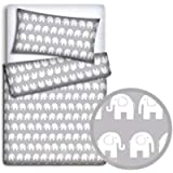 Baby Bedding Set Pillowcase + Duvet Cover 2PC to FIT Junior Bed (Elephants Grey)