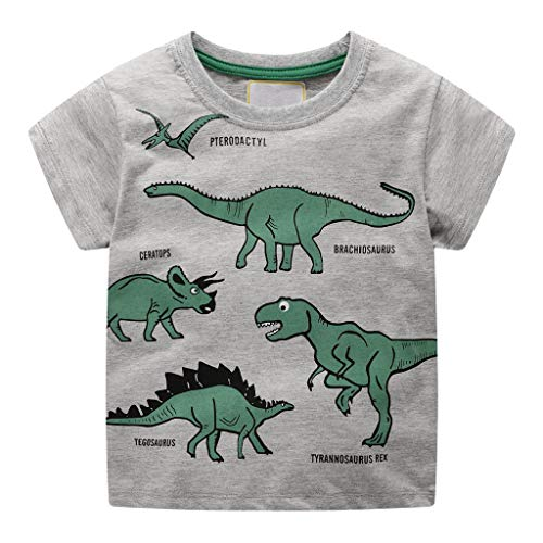 Giulogre Manches Courtes Rayures Garçon Manches Courtes Chemise Bébé Imprimé Avion Moto Cartoon Cotton T-Shirt pour 18 Mois - 7 Ans Enfants Unisex