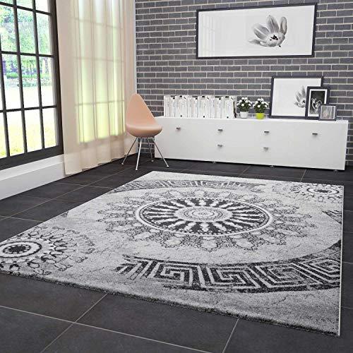 VIMODA Teppich Wohnzimmer Modern Klassisch Sehr dicht Gewebt Meliert Medallion Ornament Muster in Grau Schwarz Fussbodenheizung geeignet Edel Optik Top Qualität 80x150 cm - 8 X 10-medallion