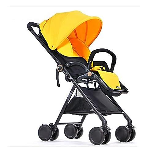 YINGER Baby Strollers Portable Lightweight Foldable Baby Pram Pushchairs , lemon yellow