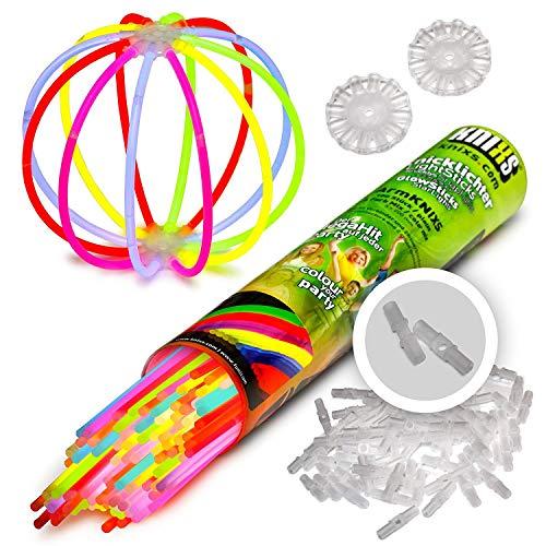 100 Knicklichter für Armbänder KNIXS | 6 Farb-Mix | inkl. 100 x 3D-Verbinder und 2 x Ballverbinder, seit 10 Jahren in Profiqualität, deutsche Testnote: 1,6 -
