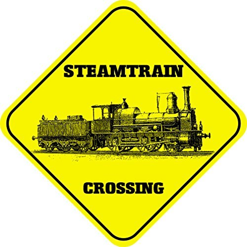 aqf527907 Panneau de signalisation en Aluminium avec Inscription « Steam Train » en Forme de Croisement en Forme de Diamant Jaune - 30,5 x 30,5 cm