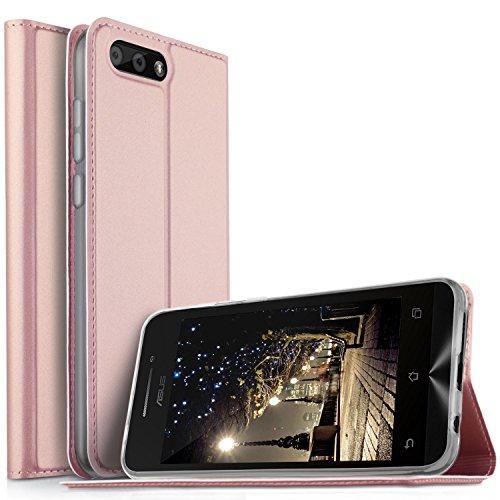 Asus Zenfone 4 ZE554KL Cover - KuGi Slim Flip Cover Custodia per Asus Zenfone 4 ZE554KL Smartphone (Flip Series - Oro rosa)