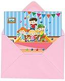 Gepard Solutions Einladungskarten im Set zum Kindergeburtstag mit Motiv Indoorspielplatz / BälleBad. Einladungen zum Indoor Geburtstag für Jungen und Mädchen (12 Einladungen mit rosa Umschlägen)