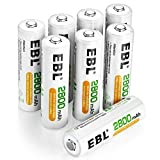 EBL 8 Pack AA Rechargeable Batteries 2800mAh High Capacity 1200 Cycle Ni-MH Batteries