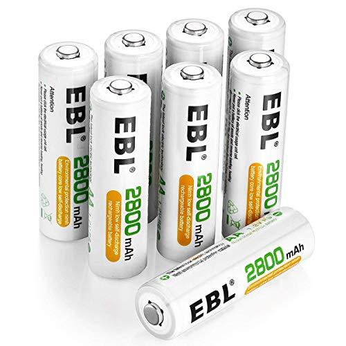 EBL AA Batterie Ricaricabili Ad Alta Capacità,Pile Ricaricabili da 2800mAh Ni-MH con Astuccio Ricarica da 1200 volte,Confezione da 8 pezz
