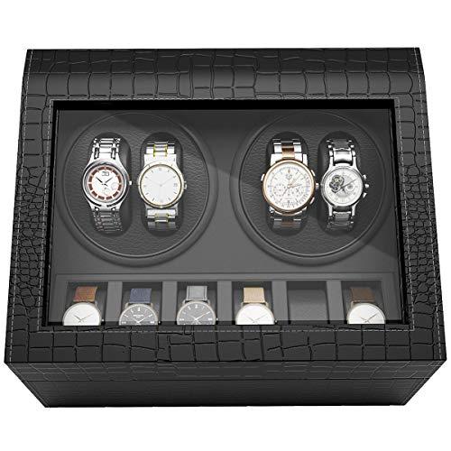 CRITIRON Watch Winder 4+6, Caja giratoria para 10 Relojes automáticos 4 Movimiento+ 6 Descanso, Artesañía Premium de Piel sintética cocodrilo, Negro