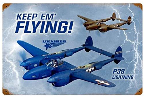 MENYRU Keep Em Flying P38 Lightning Retro Metal Signs for Wall Art Decoration 8 x 12 Inches -