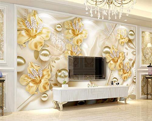 Tapete Der Modernen Haupthintergrund-Wand-3D Goldenes Juwel Blüht Tapete 3D Für Wohnzimmermalerei 250 * 175Cm