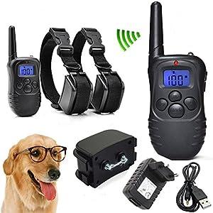 Heliomax 1x télécommande + 2x collier de dressage vibration Imperméable étanche pour chien rechargeable portee 300M 100 level LED display