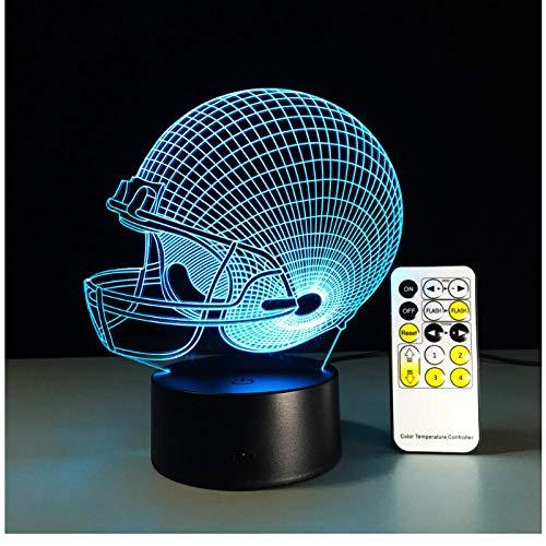 Alle teams fußball rugby hut fernbedienung lampe bunte acryl touch runde visuelle stereo 3d nachtlicht für fußball fan geschenk