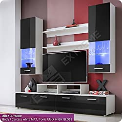 Fancy Living Room Furniture Set - Fronts in High Gloss - Display Wall Hanged Unit - TV Floor Cabinet - 2 Shelves - LED Lighted Glass Shelves behind Partly Glazed Doors (Alice 3 / WBB)