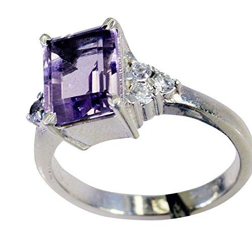 CaratYogi Natürlicher Amethyst Silber Ring Für Frauen Lünette Stil Smaragd Cut Birthstone Größen 68 (21.6) (Ringe Smaragd Birthstone)