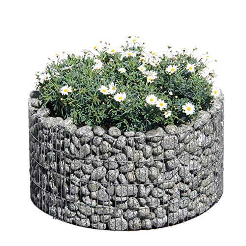 bellissa Gabionen-Hochbeet BASIC rund - 95573 - Steinkorb-Pflanzkübel rund - Bausatz inkl. Trennfolie - Durchmesser 81/67 cm, Höhe 40 cm
