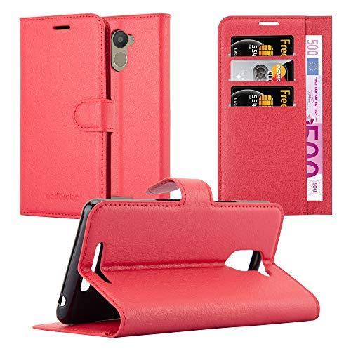 Cadorabo Hülle für BQ Aquaris U Plus - Hülle in Karmin ROT - Handyhülle mit Kartenfach und Standfunktion - Case Cover Schutzhülle Etui Tasche Book Klapp Style