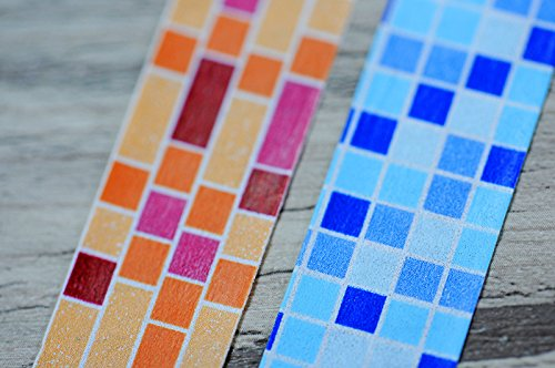 Washi Tape TWIN-SET – 2 Rollen 15 mm x 10 m Bunte Steine & Fliesen