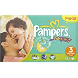 Pampers Baby Dry, Gr.3 Midi, Gigapack, 4-9kg, 136 Diapers