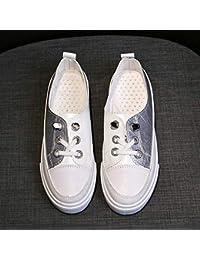 Zapatillas transpirables de color blanco para mujer, otoño, para estudiantes, informales, zapatos de coco, zapatos de marea (color plateado)