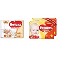 Huggies Taped Diapers, New Born (Xs) Size, 72 Counts&New Dry, Taped Diapers, Small Size Combo Pack Of 2, 36 Counts Per…