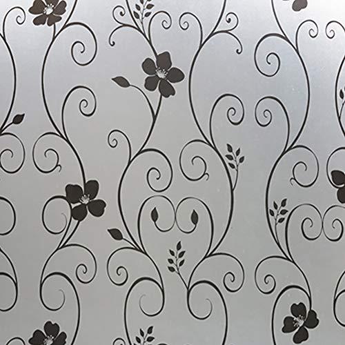 Mattglas-Aufkleber, europäisches schwarzes Schmiedeeisen-Blumen-Design, statisch haftende Fensterglasfolie für Schlafzimmer und mehr, 45 cm x 2 m -
