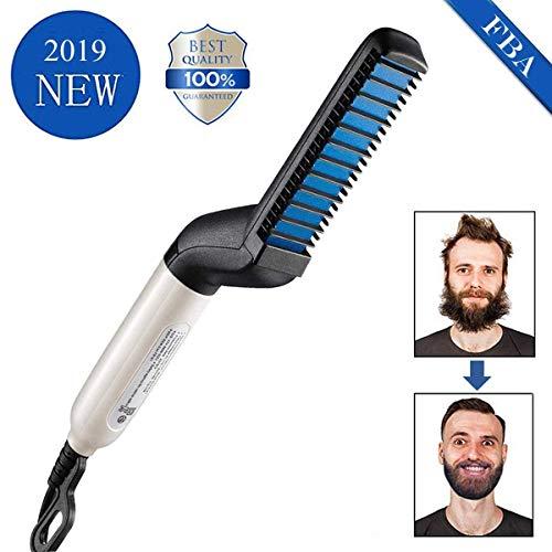 Alisador de barba para hombres - Peine alisador de barba peine peine de estilo rápido para hombres, pelo y barba alisador cepillo de calor para hombres peinado
