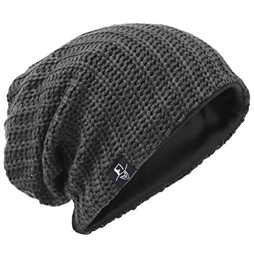 Herren Slouchy Mütze Strickmützen Rasta Skull Cap Sommer Winter Sackmütze (Gerippt Grau) - Stretch-skull-cap
