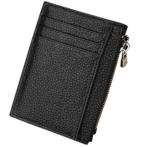 Slim Leather RFID Blocking Front Pocket Wallet Credit Card Holder Compact Front Pocket Protector for Men and Women with Multiple Compartments for Notes & Cards(Black) -