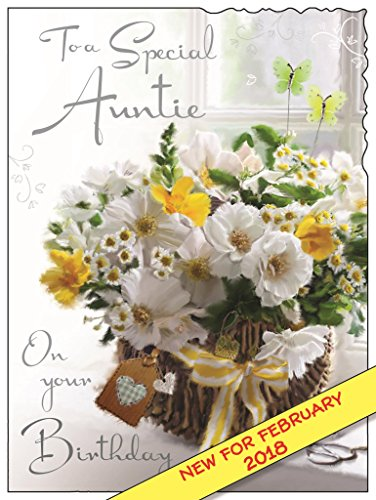Jonny Javelin Illustrated Auntie Birthday Card - (JJ3605) - Basket - From The Velvet Range - Embossed With A Silver Foil & Flitter Finish