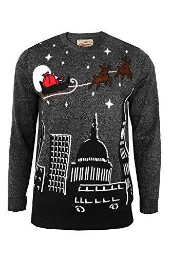 Herren Pullover - Weihnachtsmotiv Night Sky - Santas Schlitten über London - TRANSLATE_Night Sky - Mid Grey, - Night Sky Kostüm