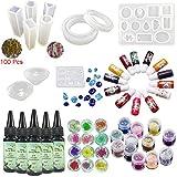 5X30 ml resina epoxi, pegamento UV, 24X decoración, pigmento colorido, 11X silicona molde, 100 piezas anillos de oro, accesorios de metal para joyería, pendientes, collar, pulsera