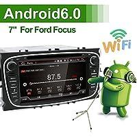 """Android 6.0 cuadrado con Wifi Modelo 7"""", para el coche Ford Focus, con pantalla táctil completa, con dvd, reproductor de cds, GPS de 2 din (tamaño estándar del tablero), con la solución de estándar global llamada """"support mirrorlink"""" que significa que se conecta tu teléfono inteligente con el sistema de entretenimiento del coche, bluetooth, altavoces para los bajos, EOBD que es un sistema de diagnóstico a bordo, dispositivo USB, SD(seguridad digital), DAB (transmisión digital de audio) cámara libre, canbus, protocolo de comunicaciones y antena para el GPS, este producto viene en color negro."""