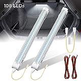 SOLMORE 2x 108 LED Auto Innenbeleuchtung Streifen Lampe Leiste Leuchtstofflampe Innenbeleuchtung DC 12V mit Schalter mit Schnalle Anschlusskabel mit zwei Drähten (je 1 Meter)