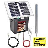 VOSS.farming 12 Watt Power Solar Duo Weidezaungerät – 12V, 9V Solar und Extra 9V Batterie, Sparen Sie Sofort Geld am mobilen Elektrozaun, Weidezaun, Stromzaun, Pferdezaun!