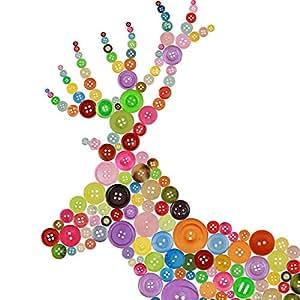 ZoomSky 600 Pcs Rond Boutons Mercerie, Résine Bouton à Coudre avec 2/4 Trous Multicolore Rétro Taille Mixte pour Couture DIY Artisanat