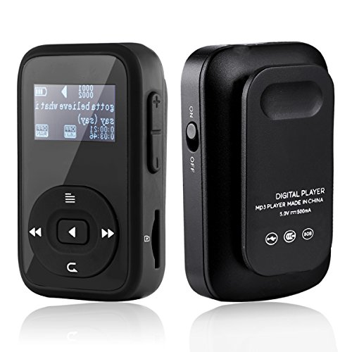 HccToo Music Player, 8GB Sports Clip Bluetooth MP3 Player With Lossless Sound and Expandable MicroSD Slot Support 64GB (Black)