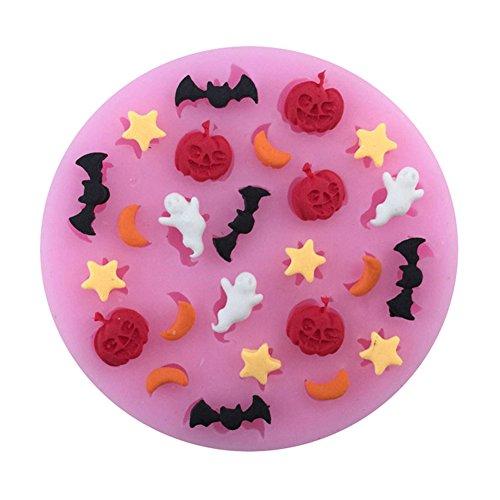 e en silicone Halloween citrouille fantôme chauve-souris DIY alimentaire Chocolat Candy Moule à pâtisserie Fondant Outil de décoration ()